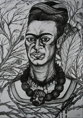 Fridakahlo2009 - Frida Kahlo, the opened flesh (portrait-homage of Frida Kahlo)