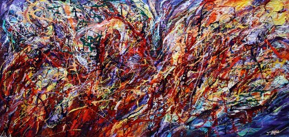 Eugenia Mangra - ECHOES THROUGH TIME - Original Abstract Painting Art by EUGENIA MANGRA