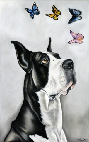 Hélène Roux - Great Dane and Butterflies