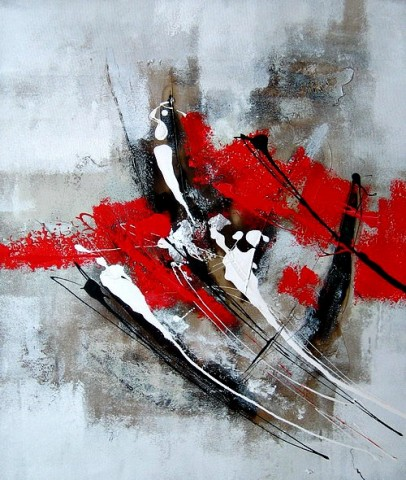 Peintures Sur Toile - Red and grey abstract oil painting
