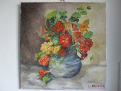 Macedon Luiza - Flowers 1-oil on canvas;Macedon Luiza