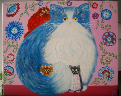 Oxana Mustafina - Acrylic painting Cats Tenderness