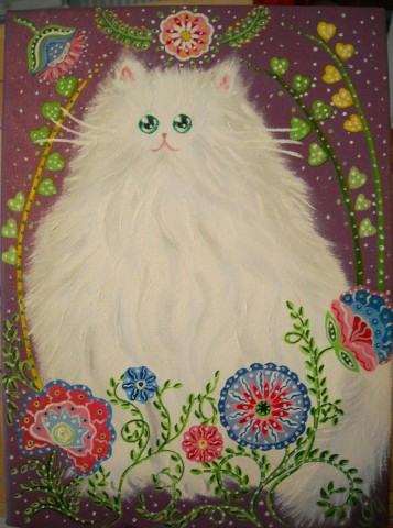 Oxana Mustafina - Oil and Acrylic painting White Cat and flowers